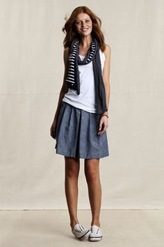 Cute. canvas chambray skirt + tank. casual and summery