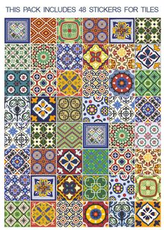 Kitchen Backsplash Tiles - Talavera - Kitchen Splashback - Tile Stickers - Tile Decals - Pack of 48 <-----------------------------------LINKS-----------------------------------> To view more Art that will look gorgeous on Your Walls Visit our Store: Mexican Tile Kitchen, Mexican Tiles, Kitchen Splashback Tiles, Patchwork Tiles, Tile Stairs, Tile Decals, Decorative Tile, Tile Art, Tile Patterns