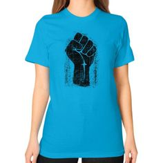 Grunge Style Solidarity Fist Unisex T-Shirt (on woman)