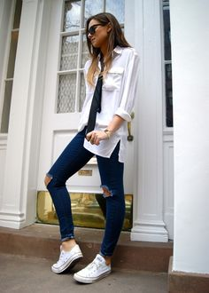 love this look.... DL1961 jeans, Equipment Blouse, UO skinny tie