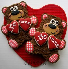Bear Cookies for Valentine's Day