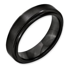 6MM Dual Finish Black Ceramic Ridged Edge Ring Available Exclusively at Gemologica.com