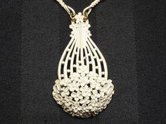Vintage Big MONET White Pendant Necklace by SellitAgainVintage, $25.00