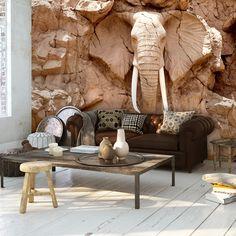 VLIES FOTOTAPETE Steinwand Skulptur Elefant Afrika Relief TAPETE WANDBILD 3 Farb - EUR 6,99. 182599696329