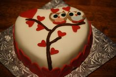 """Owl"" Be Your Valentine... Heart Shaped French Vanilla Cake covered with…"