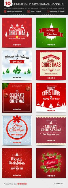 Christmas Instagram Templates - 10 Designs - Images Included - Template PSD