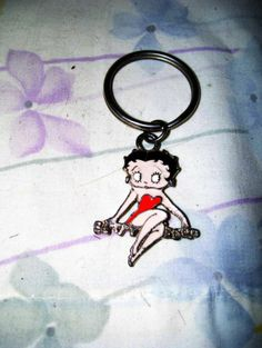 "3"" long enameled metal key chain keyring Betty Boop sitting on name in red dress"