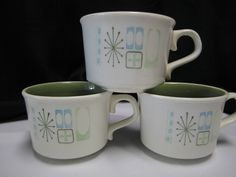 3 Mid Century Starbust Taylorstone Cathay Coffee Cups Atomic Age Tea Mugs #TaylorSmithTaylor