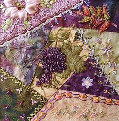"""I ❤ crazy quilting & embroidery . . .  My work on DYB for Joy. One of 6 x 6"""" blocks for SouthernCrossCrazies group. ~By crazyQStitcher"""