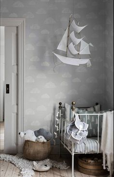 Scandinavian design for the youngest. Imagine decorating a nursery with these fairy tale looking wallpaper. A new collection from Boråstapeter for children, Scandinavian Designers Mini