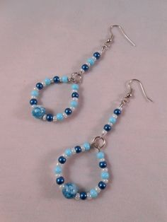 Blue Beaded Long Hoops
