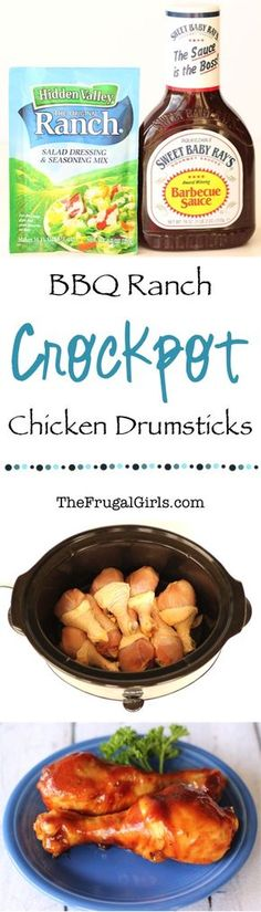 Chicken Drumstick Recipes! Crockpot BBQ Ranch Chicken Drumsticks are such an Easy Slow Cooker dinner.  Seriously some of the BEST barbecue chicken legs you'll ever have! | TheFrugalGirls.com