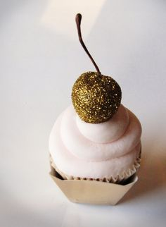 Cupcakes with a (sparkling) cherry on top! Fun and festive wedding dessert.
