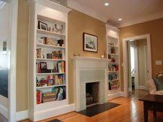 Traditional Living Room Built In Bookcase Design, Pictures, Remodel, Decor and Ideas Home, Fireplace Tile Surround, House Design, Family Room, Living Room Designs, Bookshelves In Living Room, Living Room Remodel, Living Decor, Fireplace Surrounds