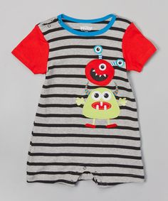Look at this Nûby Red & Blue Stripe Monster Romper on #zulily today!