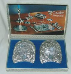 vintage set of 6 Cavalier Silver Plated Coasters | eBay
