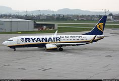 Ryanair (IE) Boeing 737-8AS(WL) EL-DLF aircraft, with the sticker ''bye bye skyeurope  Nov 2006-Dec 2012'' on the airframe, skating at Austria Salzburg W.A.Mozart International Airport. 14/04/2012.