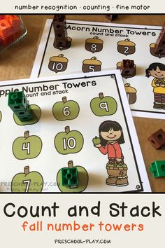Fall Number Towers - Count and Stack   Preschool Play