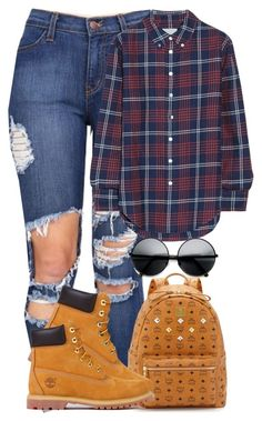 """""""School Outfit (03/09)"""" by shaystaxx ❤ liked on Polyvore featuring Band of Outsiders, ZeroUV, MCM and Timberland"""