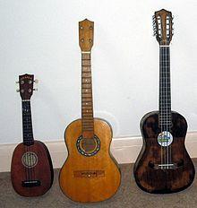 Soprano pineapple ukulele, baritone ukulele and taropatch baritone ukulele