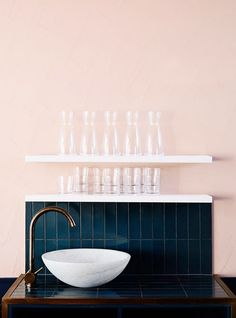 blush wall with deep blue tile backsplash. / sfgirlbybay love this colour combo