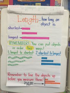 Length anchor chart (first grade level) First Grade Measurement, Measurement Kindergarten, Kindergarten Anchor Charts, Measurement Activities, Math Measurement, First Grade Activities, Kindergarten Math, Teaching Math, Math Activities