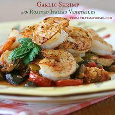 Garlic Shrimp with Roasted Italian Vegetables