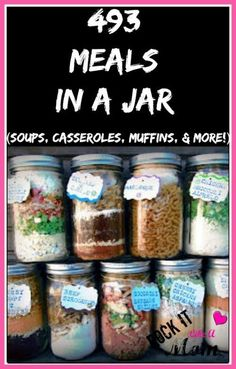 493 Meals In A Jar is part of Mason jar meals - Since we re always looking for ways to stretch your grocery budget, these meals in a jar will be an amazing help in stocking your pantry until it BURSTS! Mason Jar Meals, Mason Jar Gifts, Meals In A Jar, Mason Jars, Mason Jar Recipes, Gift Jars, Canning Jars, Soup In A Jar, Dehydrated Food