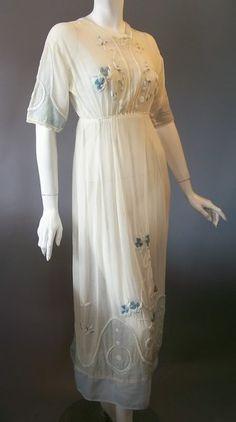 Edwardian White Embroidered Silk & Cotton Dress, $400.
