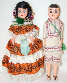 Vintage-PANAMANIAN-DOLL-COUPLE-Reliable-Canada-mark-PANAMA-CENTRAL-AMERICA