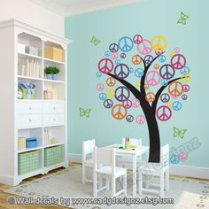 Peace Sign Vinyl Tree Decal - Children wall art - Nursery Decor - Playroom Decal - Colorful vinyl tree - Peace symbol - teen room. $120.00, via Etsy.
