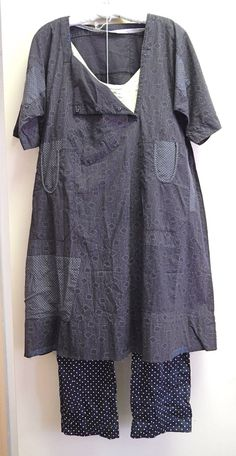 Overdye mixed prints with wash of indigo or gray blue