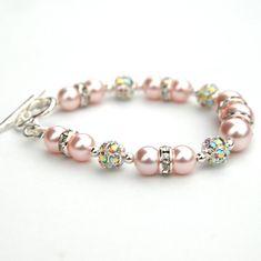 Bridesmaid Jewelry, Sparkling Pink Pearl Rhinestone Bracelet, Wedding Party