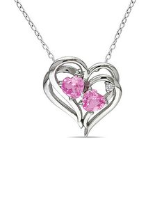 Loving this Pink Sapphire & Diamond Heart Pendant Necklace on #zulily! #zulilyfinds
