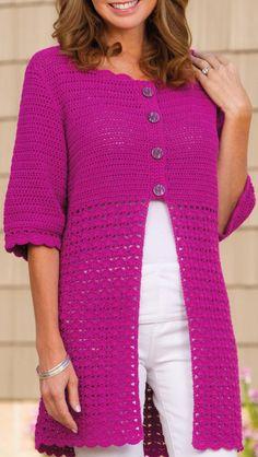 Gilet Crochet, Crochet Cardigan Pattern, Crochet Jacket, Crochet Shawl, Knit Crochet, Crochet Summer, Crochet Patterns, Crochet Patron, Crochet Fashion