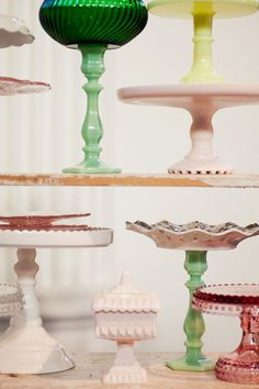Cake stands - bottoms are what I'd like dad to make, but more matchy tops
