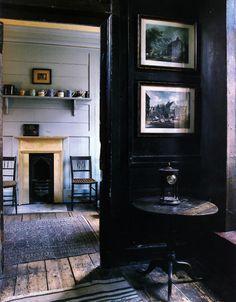 dark interiors, interior design, black walls, floor, fireplac, rustic interiors, dark walls, hous, black rooms