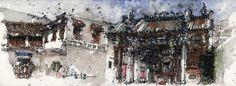 Ch'ng Kiah Kiean - Hanjiang Ancestral Temple, watercolor sketch.