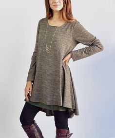 Take a look at this Olive Chiffon-Accent A-Line Tunic today!