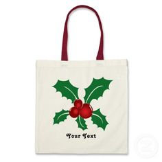 #cute #tote#bags with #Christmas #holly #berries great as #holiday #gifts