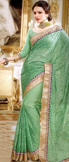 Light #Green Faux #Chiffon #Saree with Blouse @ $77.36
