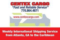Weekly Ocean Freight Shipping from Atlanta, GA to the Caribbean. For a complete quote, call 770-864-4871