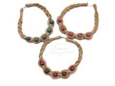 Linen necklaces Necklaces, Bracelets, Macrame, Jewelry Accessories, Beautiful, Jewelry Findings, Collar Necklace, Bracelet, Wedding Necklaces