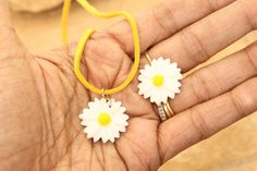 70 s Inspired Flower Child Daisy Flower Resin corker Faux Suede , Free Adjustable Ring By: Tranquilityy