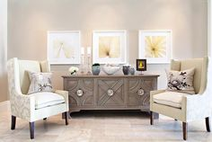 Elizabeth Kimberly Design - living rooms - Global Views Westmoreland Cabinet, greige paint, greige walls, glam foyer, botanical art, art gal...