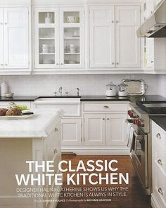 classic white...but the black countertops are cool, and would not be expensive, in laminate.
