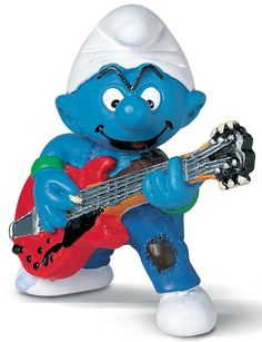 Schleich Smurf Lead Guitar Player Figure at Growing Tree Toys