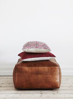 Vintagetan leather square ottoman with stitching. Leather 70cm W x 70cm L x 40cm H