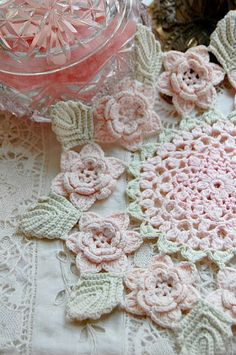 Crochet doily-this is not freeform but you could use a lot of the techniques to make your own freeform design....