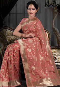 Peach Pure Banarasi Silk Saree